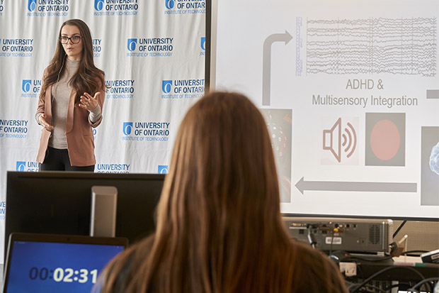 Heather McCracken (Master of Health Sciences (Kinesiology) candidate) was one of six finalists in the 2018 University of Ontario Institute of Technology 3MT® competition.