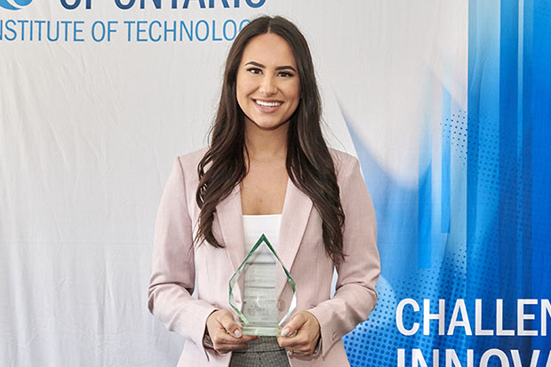PhD candidate Sarah Habibi won the university's 2019 Three Minute Thesis competition on March 20. She will represent Ontario Tech University at the provincial championship on April 17 in Hamilton, Ontario.