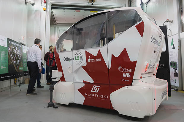 Autonomous vehicle from the City of Ottawa on display inside ACE at the Future of Transportation and Mobility Series event (March 28, 2019).