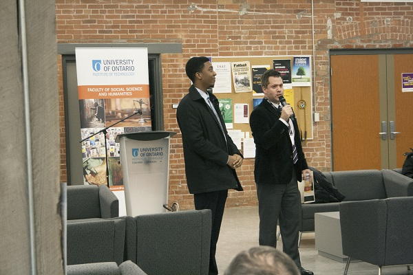 From left: Fourth-year Criminology student Tristan Williams and Dan Walters, Practicum Co-ordinator, FSSH, spoke at the faculty's first-ever Celebration of Community Partnerships event.
