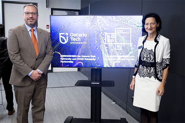 Ontario Tech University President Dr. Steven Murphy (left) and OCAD University President Dr. Sara Diamond announced details of the universities' Digital and Human Connection partnership on April 17, 2019.