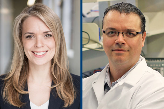 Dr. JoAnne Arcand, Assistant Professor, Faculty of Health Sciences (left) and Dr. Brad Easton, Professor, Faculty of Science will give free lectures at the university's annual Research Excellence Award Speaker Series on Wednesday, May 8.
