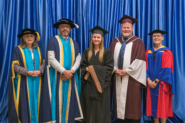 From left: Noreen Taylor, Chancellor; Dr. Steven Murphy, President and Vice-Chancellor; Dawn Haw, Faculty of Business and Information Technology (FBIT) medal winner (tie); Dr. Michael Bliemel, Dean, FBIT; Dr. Lori Livingston, Provost and Vice-President Academic.
