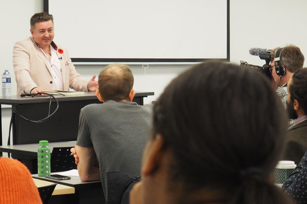 Tony McAleer, author of The Cure for Hate and a former extremist, spoke with students and faculty at an event  hosted by Ontario Tech University's Centre on Hate, Bias and Extremism (November 12, 2019).