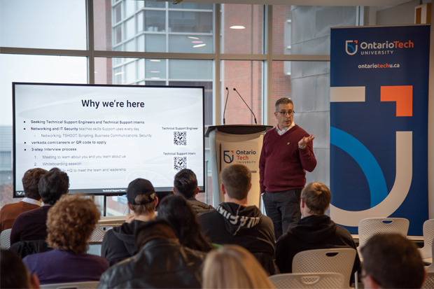 Ethan Cuttler, Technical Support Manager, Verkada, speaks to Ontario Tech University during the company's student recruitment visit to campus (November 21, 2019).
