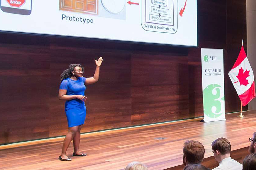2017 Three-Minute Thesis winner Ololade Sanusi representing Ontario Tech University at the 2017 provincial 3MT championship in Waterloo, Ontario.