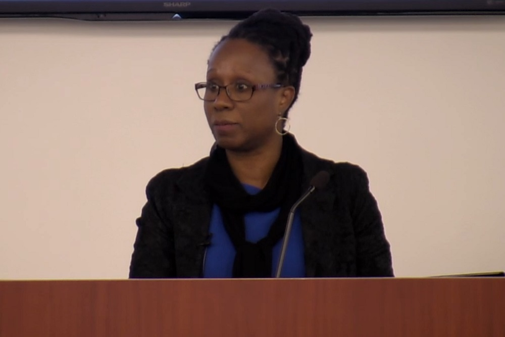 Camille Nelson, Dean and Professor of Law at American University Washington College of Law (Washington D.C.) speaking at the Faculty of Social Science and Humanities' Legal Studies Distinguished Visitor Lecture Series (February 6, 2020).