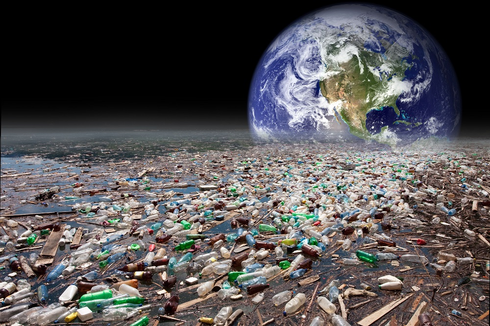Image of globe and sea of garbage