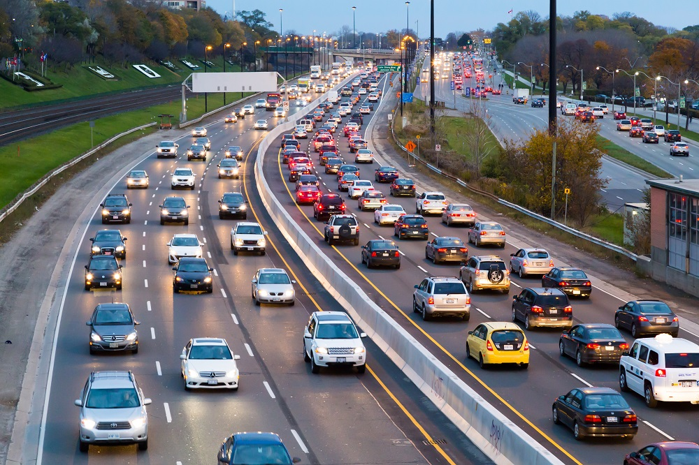 Typical rush hour traffic along Toronto's Gardiner Expressway.