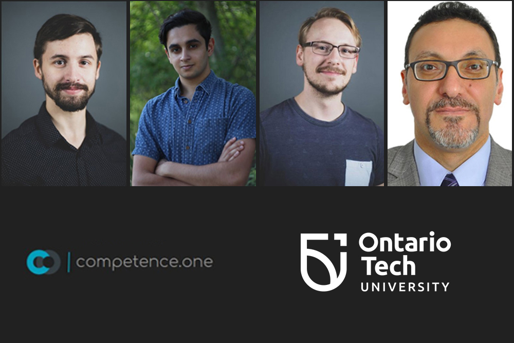 Members of the competence.one team, winners of the 2020 Brilliant Catalyst summer incubator pitch competition. From left: Ethan Elliott, Chief Executive Officer; Anirudh Mungre, Chief Technology Officer; Matthew Boivin, Chief Information Officer (all three are recent Ontario Tech University Bachelor of Engineering in Software Engineering graduates), and Professor Qusay Mahmoud, PhD, Ontario Tech Faculty of Engineering and Applied Science, Chief Administrative Officer and faculty supervisor.
