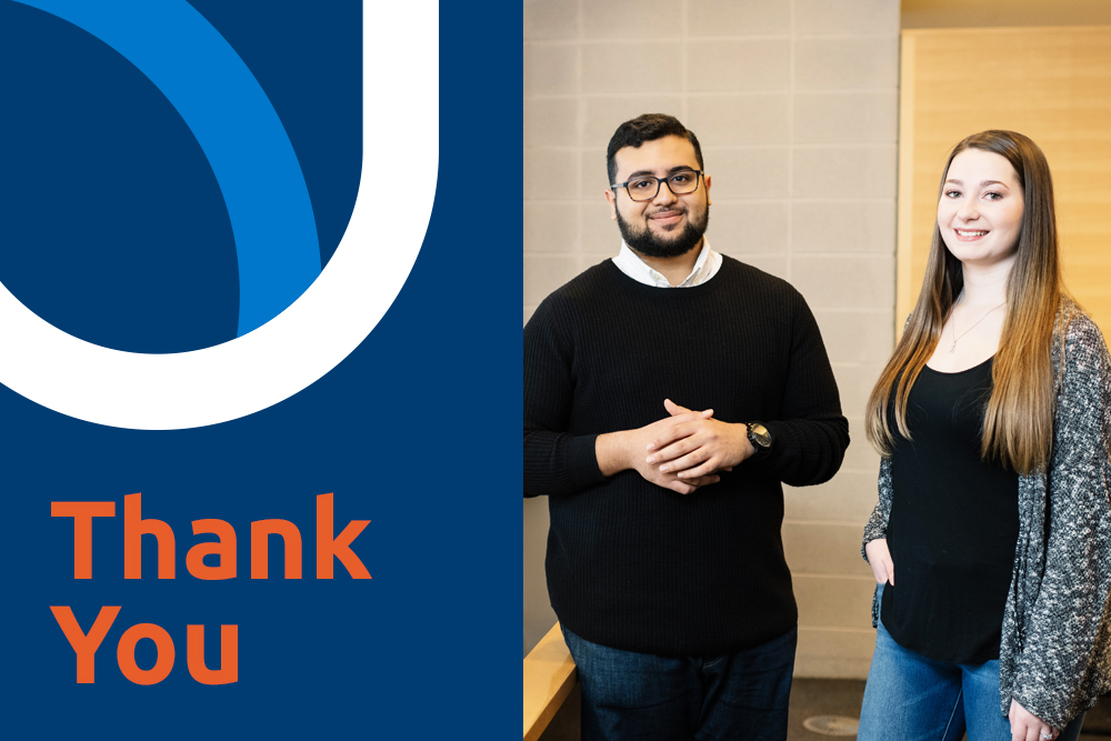 Thanks to the generosity of our donors, Ontario Tech University students received the support and encouragement they needed to continue to focus on their studies.