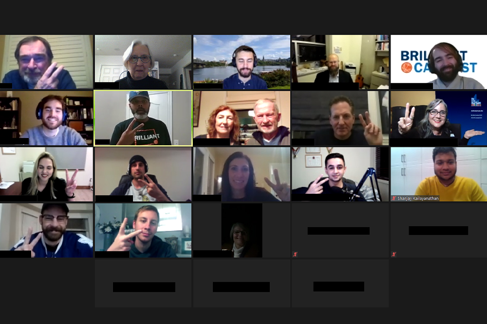 Screen-capture image of Brilliant Catalyst's second anniversary virtual event (November 19, 2020).