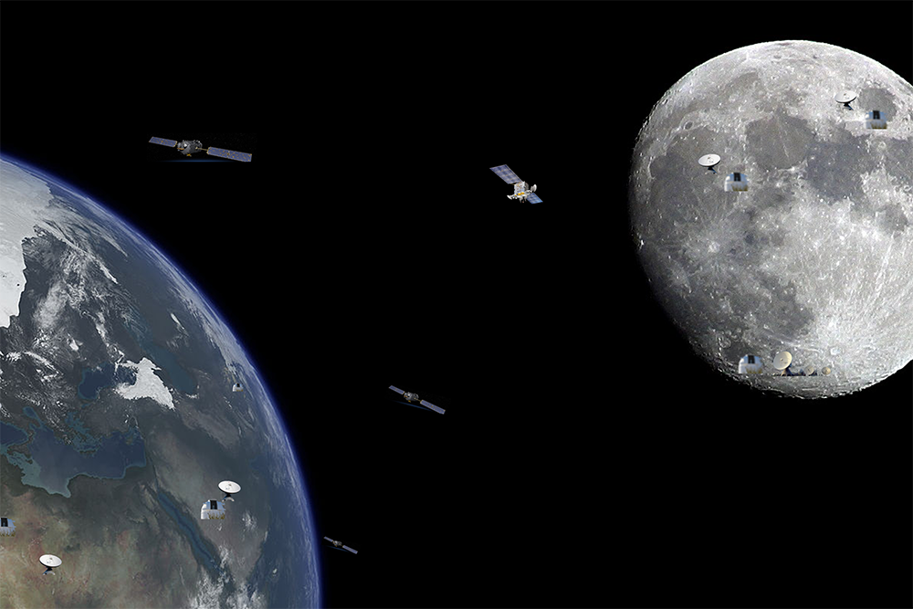 Image of the Earth, Moon and communication satellites