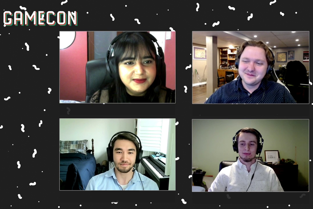 GameCon 2021 livestream Pre-Show, hosted by Safa Nazir (top left) where student teams were interviewed about their experiences in game development.