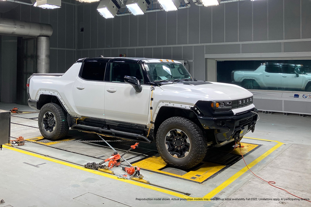 Extreme-cold weather testing of future GMC HUMMER EV (electric vehicle) inside the ACE Climatic Wind Tunnel at Ontario Tech University (wind tunnel temperature approaching -40 degrees Celsius).