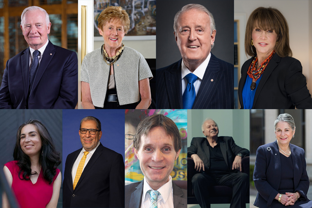 Ontario Tech University's honorary doctorate recipients (top row, from left): Rt. Hon. David Johnston, Mrs. Sharon Johnston, Rt. Hon. Brian Mulroney, Mrs. Mila Mulroney; (bottom row, from left): Ms. Tanya Talaga, Dr. Mohamed Lachemi, Mr. Paul Ralph, Mr. Andreas Apostolopoulos, Ms. Noreen Taylor.