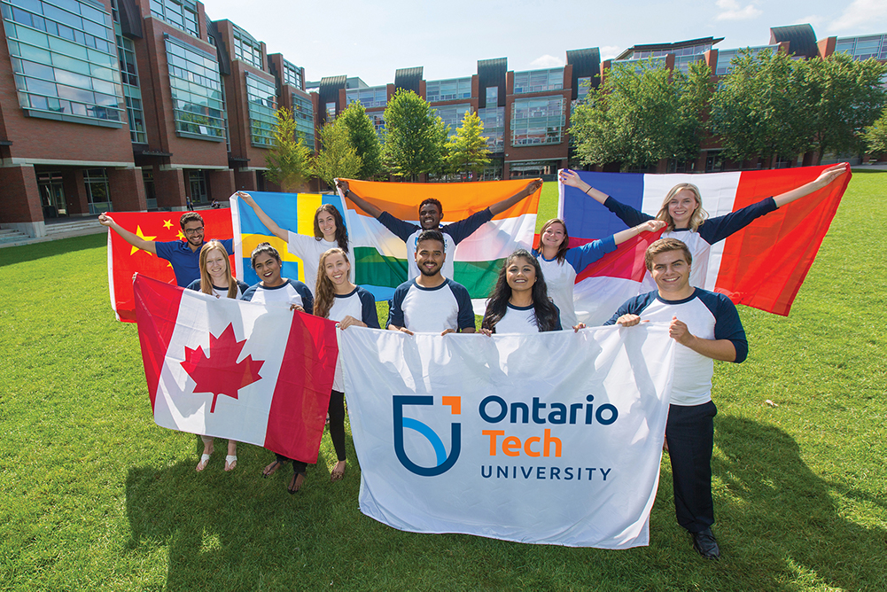 Students at Polonsky Commons at Ontario Tech University's north Oshawa location (note: archival image from pre-pandemic).